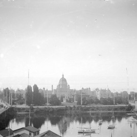 1895 British Columbia legislative buildings, with harbour in the foreground