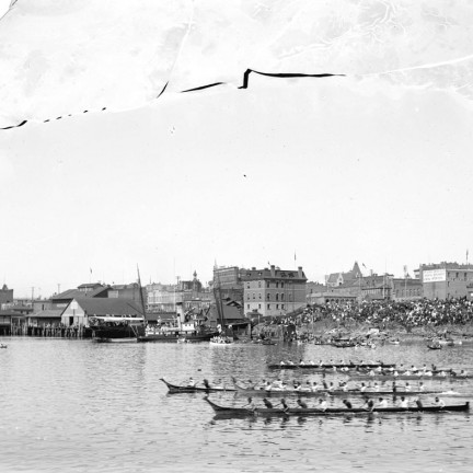 1900 First Nations canoe races in inner harbour Victoria