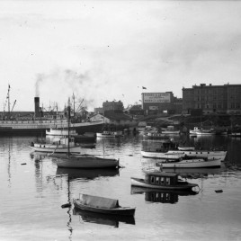 1928 Inner harbour showing small boats and Union Steamship&#039;s &quot;Camosun&quot;